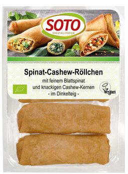 Spinat-Cashew-Röllchen   4 Stck, vegan