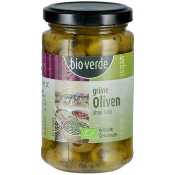 Grüne Oliven ohne Stein   m. frischen Kräutern mariniert